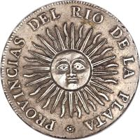 reverse of 4 Reales (1813 - 1815) coin with KM# 4 from Argentina. Inscription: PROVINCIAS DEL RIO DE LA PLATA .