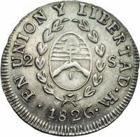obverse of 2 Soles (1824 - 1826) coin with KM# 18 from Argentina. Inscription: PROVINCIAS DEL RIO DE LA PLATA *