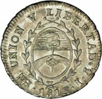 obverse of 1/2 Real (1813) coin with KM# 1.1 from Argentina.
