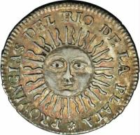 reverse of 1/2 Real (1813) coin with KM# 1.1 from Argentina.