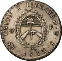 obverse of 8 Reales (1813) coin with KM# 5 from Argentina.