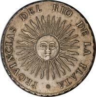reverse of 8 Reales (1813) coin with KM# 5 from Argentina.