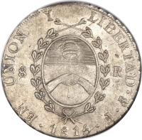 obverse of 8 Reales (1815) coin with KM# 14 from Argentina.