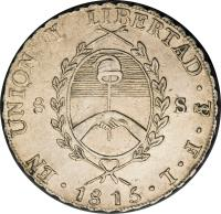 obverse of 8 Soles (1815) coin with KM# 15 from Argentina.