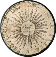 reverse of 8 Soles (1815) coin with KM# 15 from Argentina.