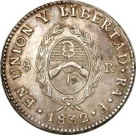 obverse of 8 Reales (1826 - 1837) coin with KM# 20 from Argentina. Inscription: EN UNION Y LIBERTAD RA P 8 R 1932