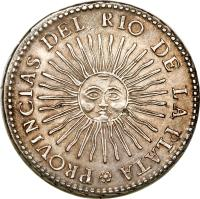 reverse of 8 Reales (1826 - 1837) coin with KM# 20 from Argentina. Inscription: PROVINCIAS DEL RIO DE LA PLATA