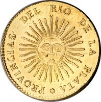 reverse of 8 Escudos (1826 - 1835) coin with KM# 21 from Argentina.