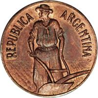 obverse of 1 Centavo (1935) coin with KM# Pn43 from Argentina. Inscription: REPUBLICA ARGENTINA