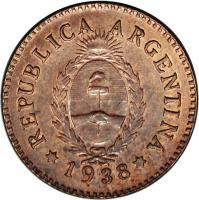 obverse of 1 Centavo (1938) coin with KM# Pn50 from Argentina. Inscription: REPUBLICA ARGENTINA 1938