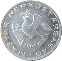 obverse of 10 Fillér (1950 - 1966) coin with KM# 547 from Hungary. Inscription: MAGYAR NÉPKÖZTÁRSASÁG 1961