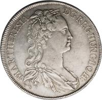 obverse of 1 Speciestaler - Maria Theresa - Vienna mint (1741 - 1744) coin with KM# 1678 from Austria. Inscription: MAR:THERESIA · D:G:REG:HUNG:BOH: