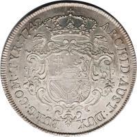 reverse of 1 Speciestaler - Maria Theresa - Vienna mint (1741 - 1744) coin with KM# 1678 from Austria. Inscription: ARCHID · AUST · DUX BURG · COM · TYR · 1741