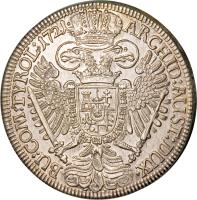 reverse of 1 Speciestaler - Karl VI - Hall mint (1719 - 1734) coin with KM# 1594 from Austria.