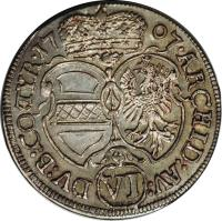 reverse of 6 Kreuzer - Josef I - Hall mint (1707 - 1711) coin with KM# 1491 from Austria.