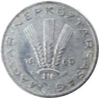 obverse of 20 Fillér (1967 - 1989) coin with KM# 573 from Hungary. Inscription: MAGYAR NÉPKÖZTÁRSASÁG · 19 72