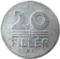 reverse of 20 Fillér (1967 - 1989) coin with KM# 573 from Hungary. Inscription: 20 FILLÉR BP.