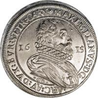 obverse of 1 Speciestaler - Maximilian - Hall mint (1614 - 1615) coin with KM# 188 from Austria.