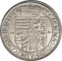 reverse of 1 Speciestaler - Maximilian - Hall mint (1614 - 1615) coin with KM# 188 from Austria.