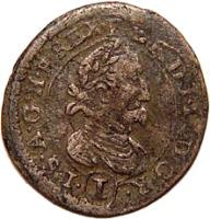 obverse of 1 Kreuzer - Ferdinand II - Graz mint (1624 - 1631) coin with KM# 481 from Austria.