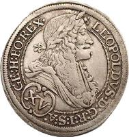 obverse of 15 Kreuzer - Leopold - Graz mint (1694 - 1696) coin with KM# 1375 from Austria.