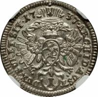 reverse of 1 Kreuzer - Karl VI - Graz mint (1730 - 1740) coin with KM# 1638 from Austria.