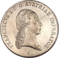 obverse of 1 Thaler - Franz I (1811 - 1815) coin with KM# 2161 from Austria. Inscription: FRANCISCVS I:D:G:AVSTRIAE IMPERATOR · C