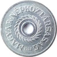 obverse of 2 Fillér (1950 - 1989) coin with KM# 546 from Hungary. Inscription: MAGYAR NÉPKÖZTÁRSASÁG 1971