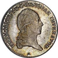 obverse of 1 Thaler - Franz I (1806 - 1810) coin with KM# 2160 from Austria. Inscription: FRANCISCVS I · D · G · AVSTRIAE IMPERATOR · A