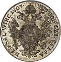 reverse of 1 Thaler - Franz I (1806 - 1810) coin with KM# 2160 from Austria. Inscription: HVN · BOH · GAL · REX · A · A · D · LO · SAL · WIRC · 1807 ·