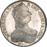 obverse of 1 Thaler - Maria Theresa (1754 - 1758) coin with KM# 1817 from Austria. Inscription: M · THERESIA · D · G · R · IMP · GE · HU · BO · REG ·