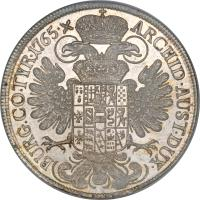 reverse of 1 Thaler - Maria Theresa (1754 - 1758) coin with KM# 1817 from Austria. Inscription: ARCHID · AUST · DUX · BURG · CO · TYR · 1765 · X
