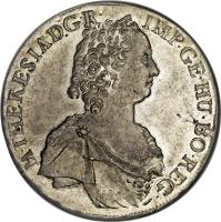 obverse of 1 Thaler - Maria Theresa (1754 - 1765) coin with KM# 1816 from Austria. Inscription: M · THERESIA · D:G · R · IMP · GE · HU · BO · REG ·