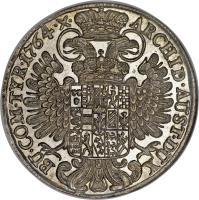 reverse of 1 Thaler - Maria Theresa (1754 - 1765) coin with KM# 1816 from Austria. Inscription: ARCHID · AUST · DUX BU · COM · TYR · 1764 · X ·