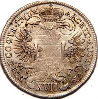 reverse of 17 Kreuzer - Maria Theresa (1750 - 1765) coin with KM# 1782 from Austria. Inscription: ARCHID · AUST · DUX · BURG · CO · TYR · 1762x XVII