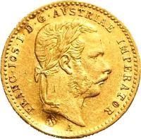 obverse of 1 Ducat - Franz Joseph I (1867 - 1872) coin with KM# 2266 from Austria. Inscription: FRANC · IOS · I · D · G · AVSTRIAE IMPERATOR A