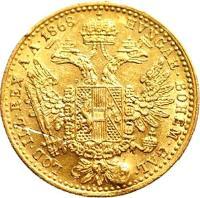 reverse of 1 Ducat - Franz Joseph I (1867 - 1872) coin with KM# 2266 from Austria. Inscription: HVNGAR · BOHEM · GAL · LOD · ILL · REX · A · A · 1868