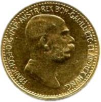 obverse of 10 Corona - Franz Joseph I - Reign (1908) coin with KM# 2810 from Austria. Inscription: FRANC · IOS · I · D · G · IMP · AUSTR · REX BOH · GAL · ILL · ETC · ET AP · REX HUNG ·