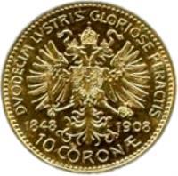 reverse of 10 Corona - Franz Joseph I - Reign (1908) coin with KM# 2810 from Austria. Inscription: DUODECIM LUSTRIS GLORIOSE PERACTIS 1848 1908 10 CORON ·