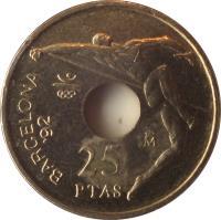 reverse of 25 Pesetas - Juan Carlos I - Barcelona '92 high jump (1990 - 1991) coin with KM# 851 from Spain. Inscription: BARCELONA '92 M 25 PTAS
