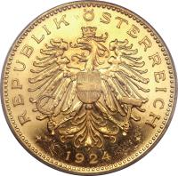 obverse of 100 Kronen (1923 - 1924) coin with KM# 2831 from Austria.