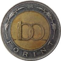 reverse of 100 Forint (1996 - 2011) coin with KM# 721 from Hungary. Inscription: BP. 100 FORINT