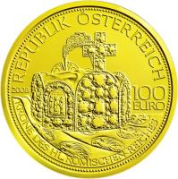 obverse of 100 Euro - Crown of the Holy Roman Empire (2008) coin with KM# 3160 from Austria. Inscription: OTTO 1.