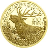reverse of 100 Euro - The Red Deer (2013) coin with KM# 3225 from Austria. Inscription: REPUBLIK ÖSTERREICH 2013 100 EURO