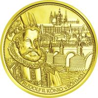reverse of 100 Euro - The Crown of St.Wenceslas (2011) coin with KM# 3203 from Austria. Inscription: RUDOLF II. KÖNIG v.BÖHMEN