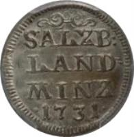 reverse of 4 Kreuzer - Leopold - Anton Eleutherius (1731) coin with KM# 336 from Austrian States. Inscription: SALZB: LAND MINZ · 1731 ·