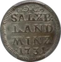 reverse of 4 Kreuzer - Leopold - Anton Eleutherius (1731) coin with KM# 336 from Austrian States. Inscription: SALZB: LAND MINZ · 1731 ·