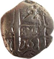 reverse of 2 Reales - Carlos III - Colonial Cob Coinage (1759 - 1773) coin with KM# 43 from Bolivia. Inscription: 2 1767