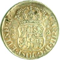 obverse of 2 Reales - Carlos III - Colonial Milled Coinage (1767 - 1770) coin with KM# 48 from Bolivia. Inscription: CAR · III · D · G · HISP · ET · IND · R ·