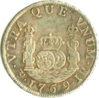 reverse of 2 Reales - Carlos III - Colonial Milled Coinage (1767 - 1770) coin with KM# 48 from Bolivia. Inscription: VTRA QUE VNUM